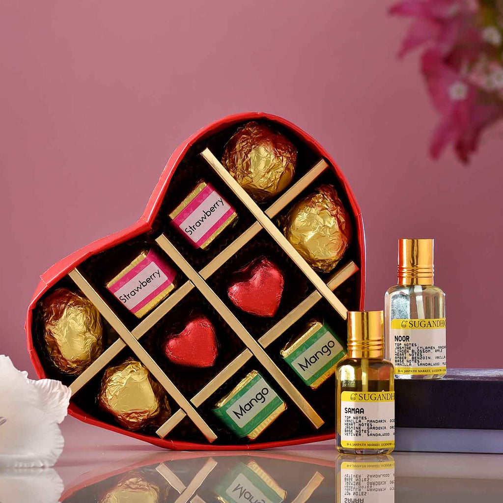 Exotic Sama & Noor Fragrances With Heart Shaped Chocolates