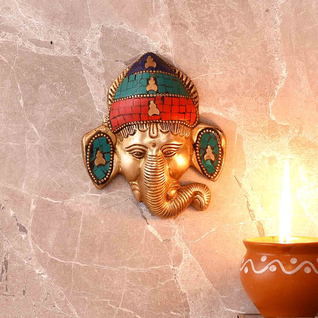Majestic Colorful Brass Ganesha Face