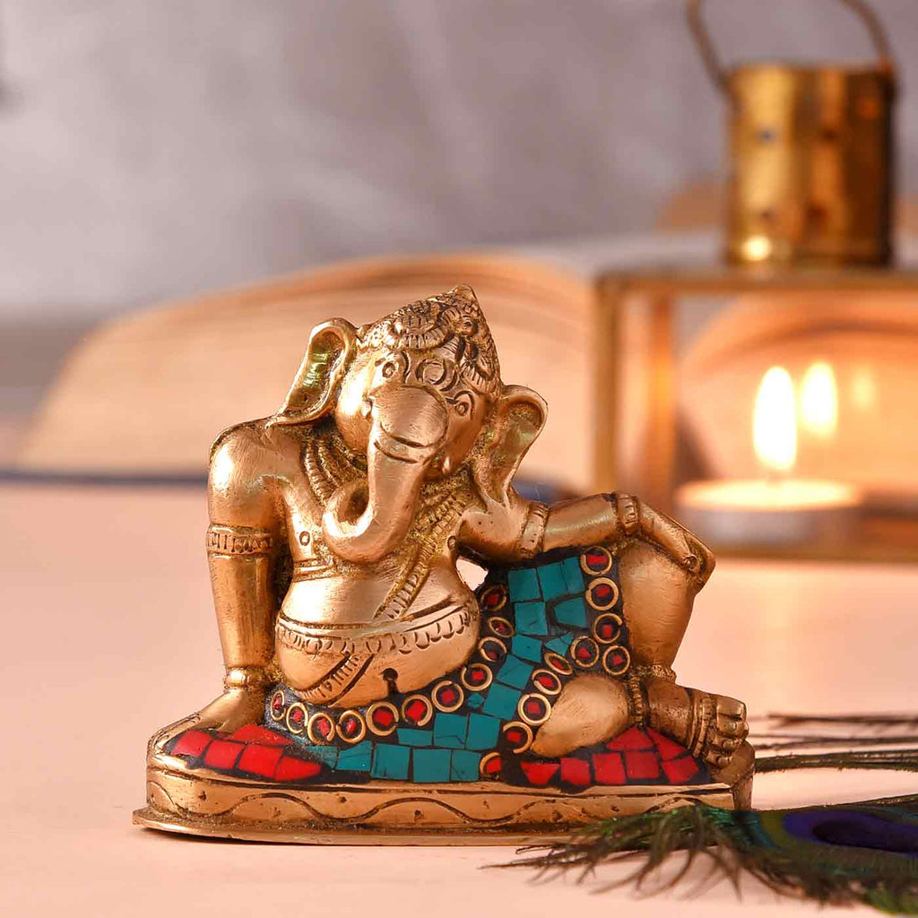 Ganesha Relaxing Brass Idol