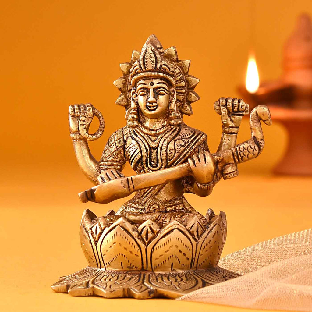 Divine Goddess Of Knowledge Saraswati Brass Idol