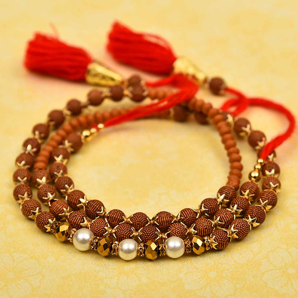 Stylish Pearls, Crystals & Beads Rakhi Thread