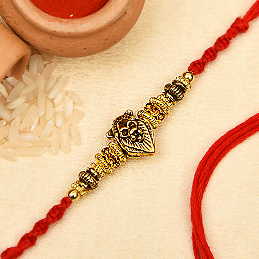 Antique Finish Lion Face Rakhi