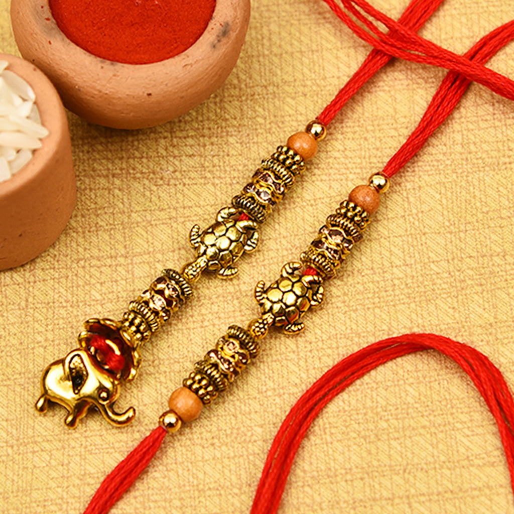 Gold Antique Finish Turtles Bhaiya Bhabhi Rakhis