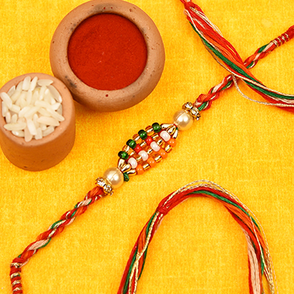 Beautiful Multicolored Beads & Pearls Rakhi