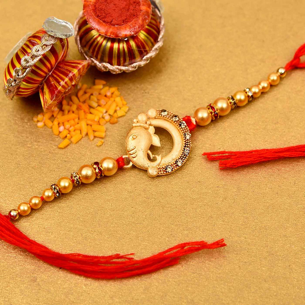 Traditional Ganesha & Pearls Rakhi