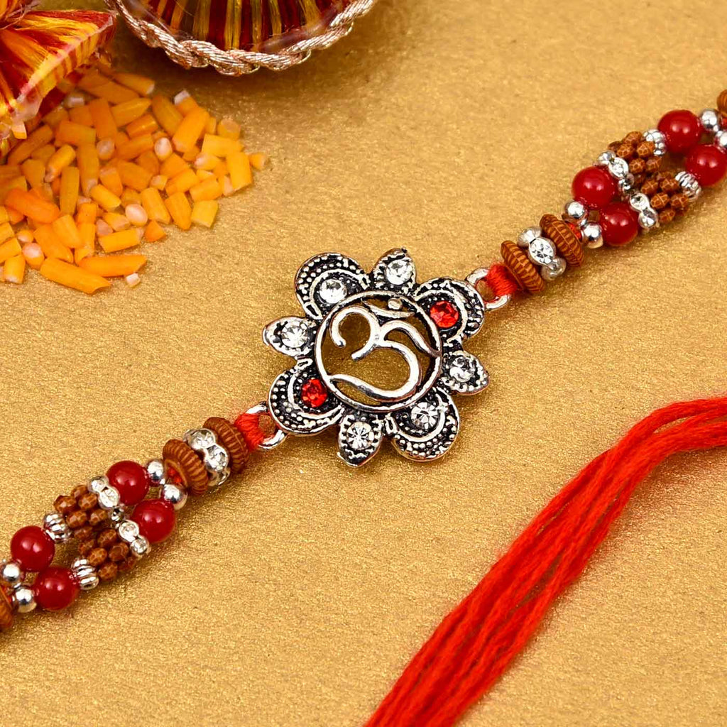 Ethnic Red Drop Bead & Om Rakhi