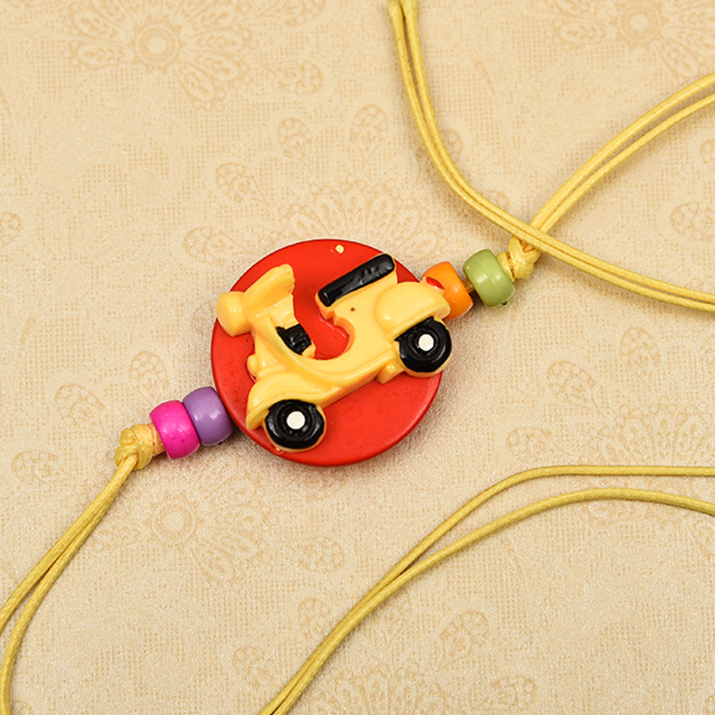 Delightful Kid's Scooter & Beads Rakhi