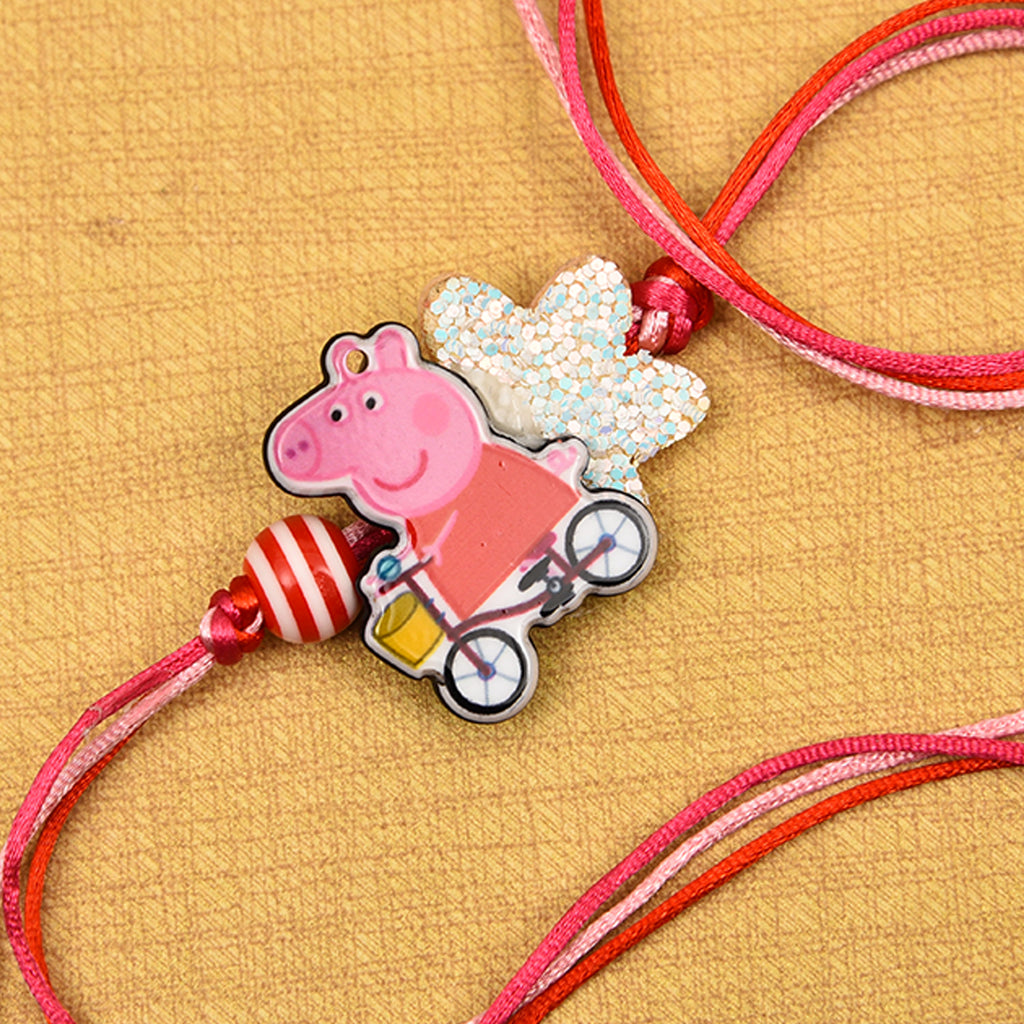 Cartoon Cycling Rakhi With Beads