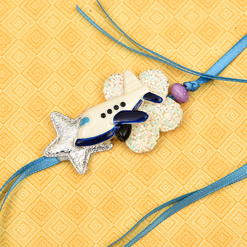 Fancy Stars, Flower & Airplane Rakhi
