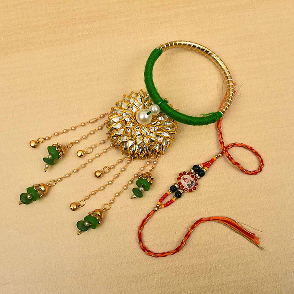 Gota & Pearls Green Bangle Rakhi