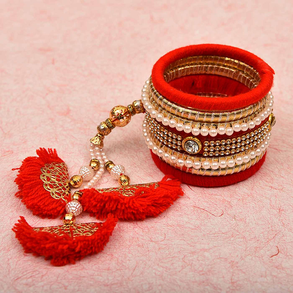 Fancy Bangle Pearls & Kundan Work Rakhi