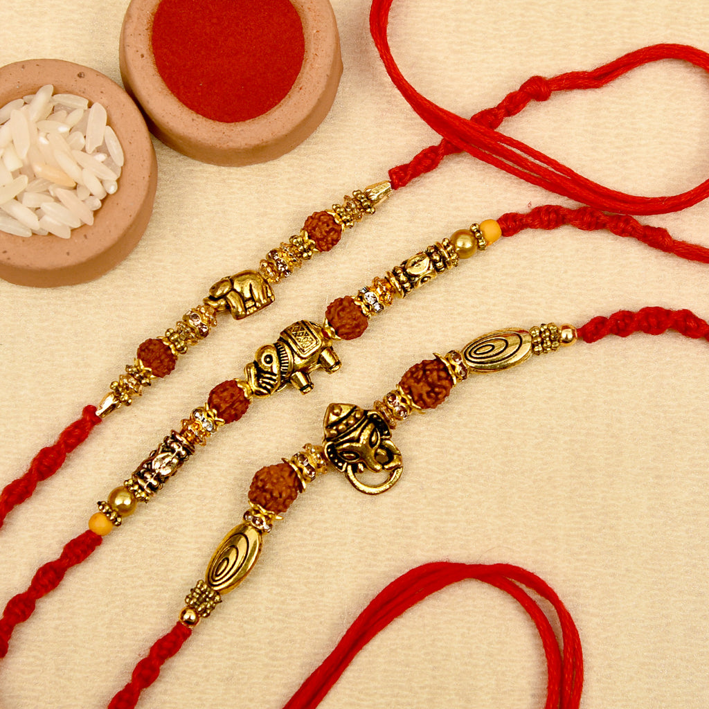 Ethnic Antique Gold Set Of 3 Rudraksh Rakhis