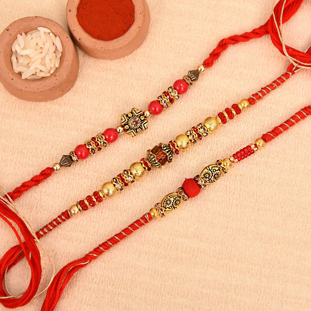 Beautiful Set Of 3 Red Beads Rakhis