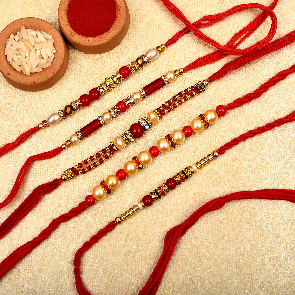 Beautiful Set Of 5 Pearls & Red Beads Rakhis