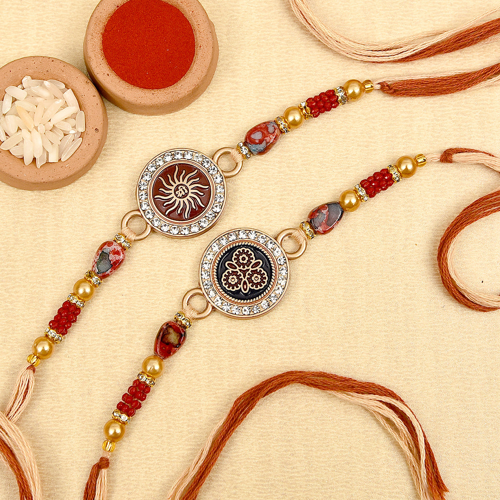 Attractive Set Of 2 Beads & Pearls Rakhis