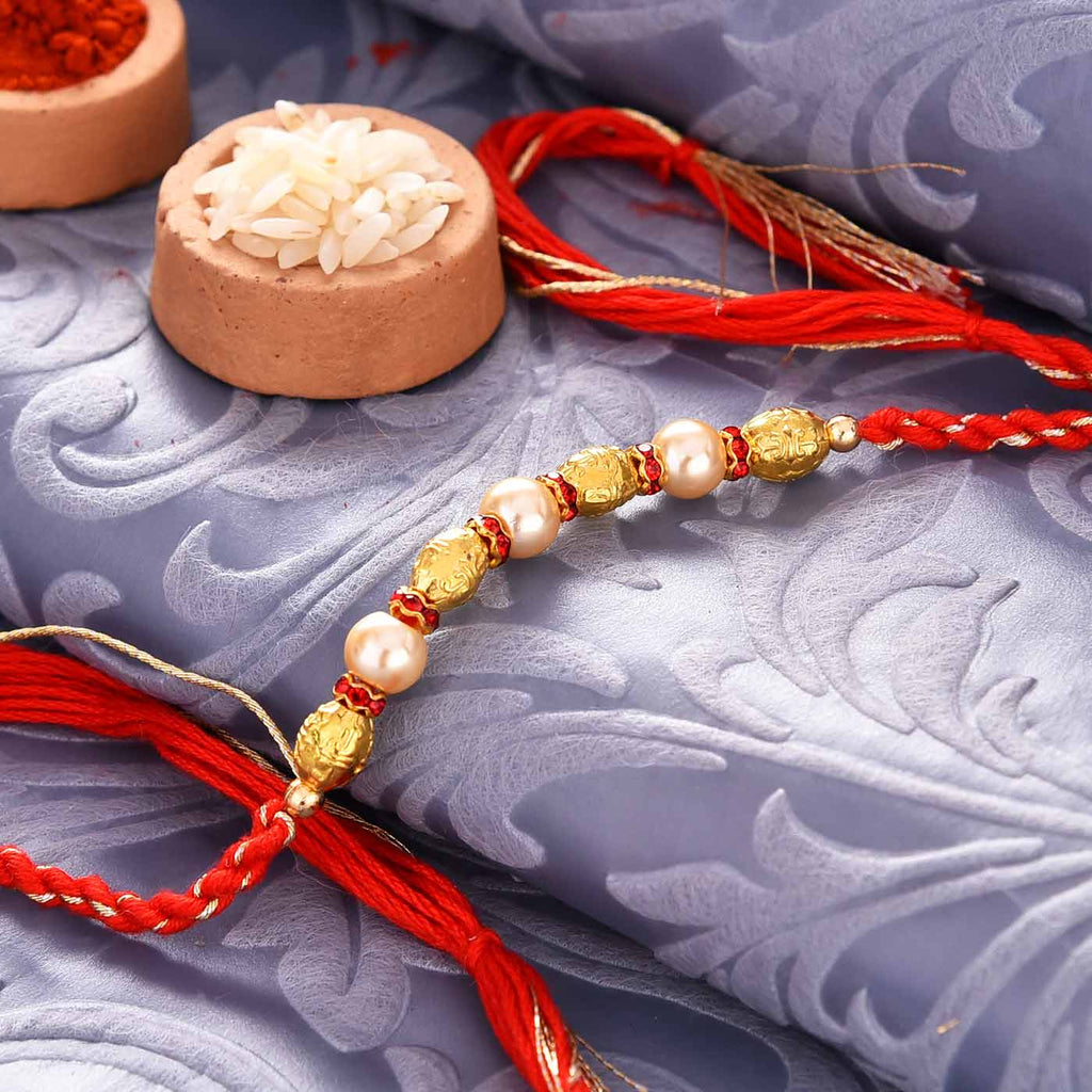 Gorgeous Pearls & Golden Beads Rakhi Thread