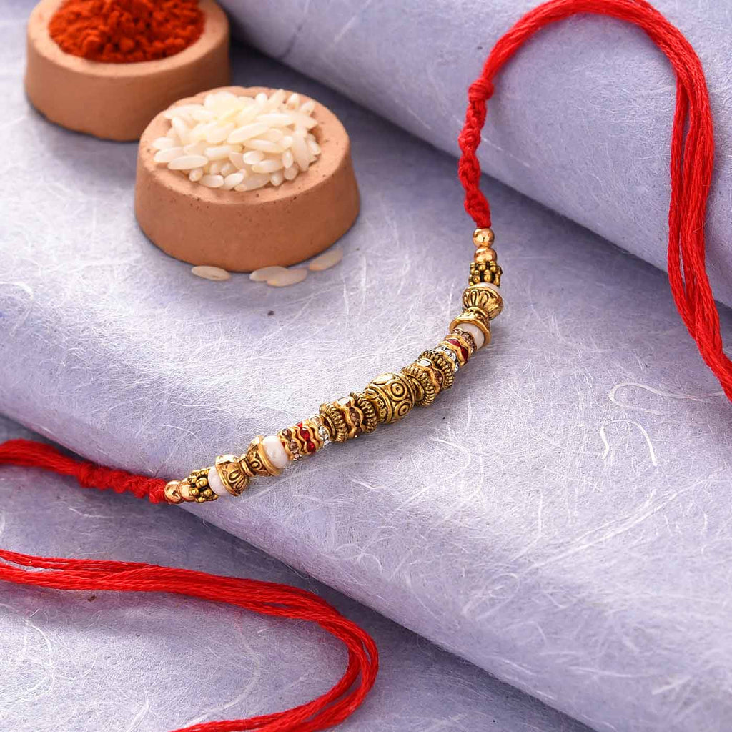 Alluring Antique Finish Beads & Stones Rakhi Thread
