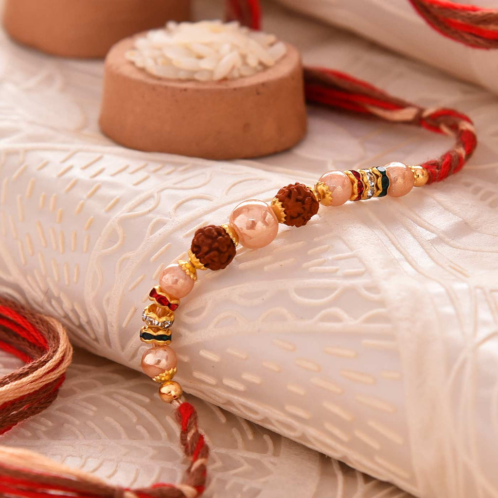 Fancy Rudraksha & Pearls Rakhi Thread