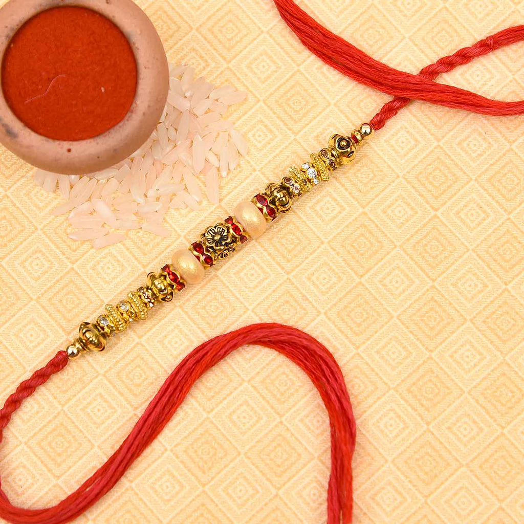 Floral Pattern Pearls & Stone Work Rakhi Thread