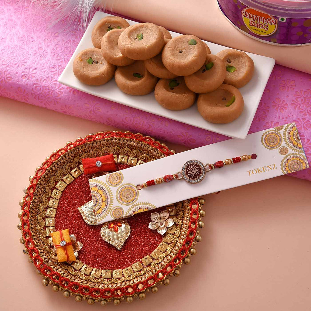 Exclusive Hamper Of Stones Rakhi, Mathura Peda and Pooja Thali