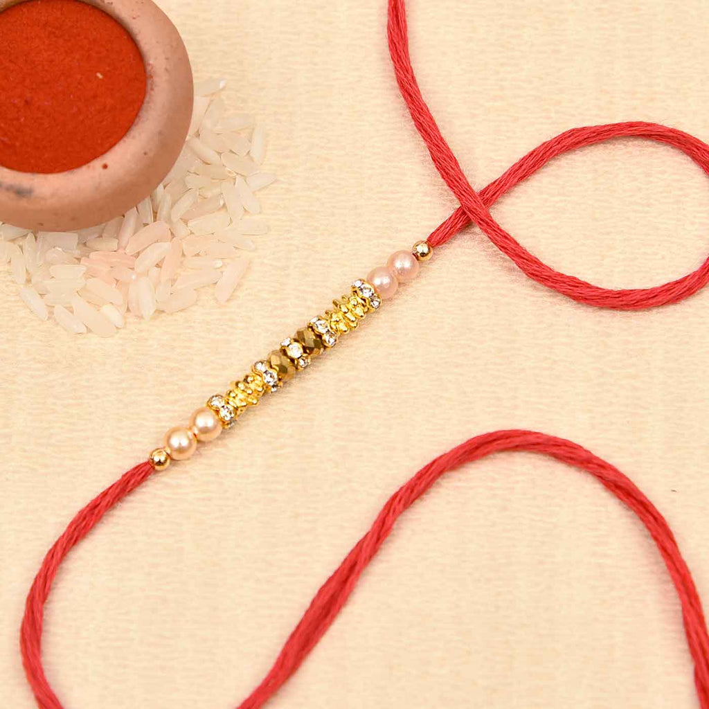 Captivating Crystal Beads & Pearls Rakhi Thread