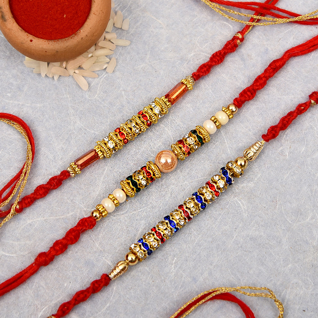 Pearl, Stone & Bead Work Rakhis Set Of 3