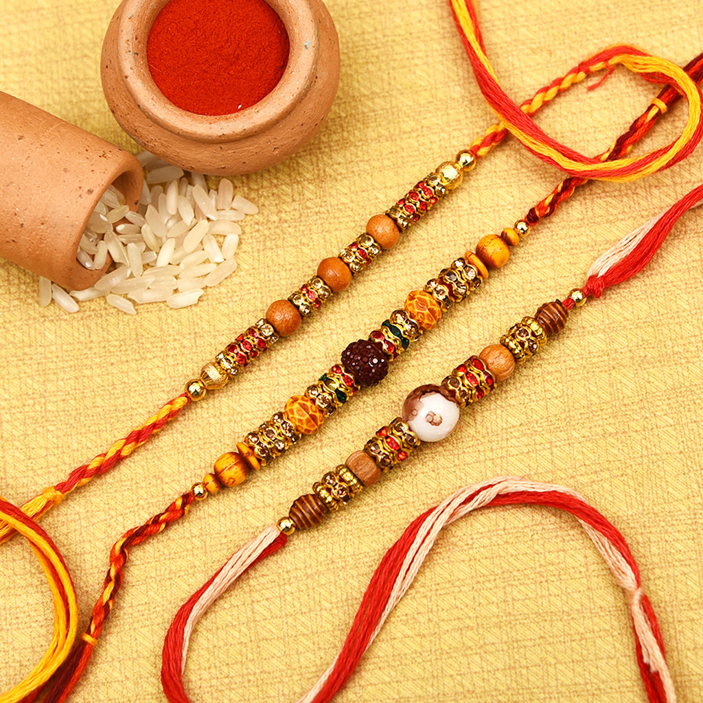 Traditional Wooden Beads & Stones Rakhis Set Of 3
