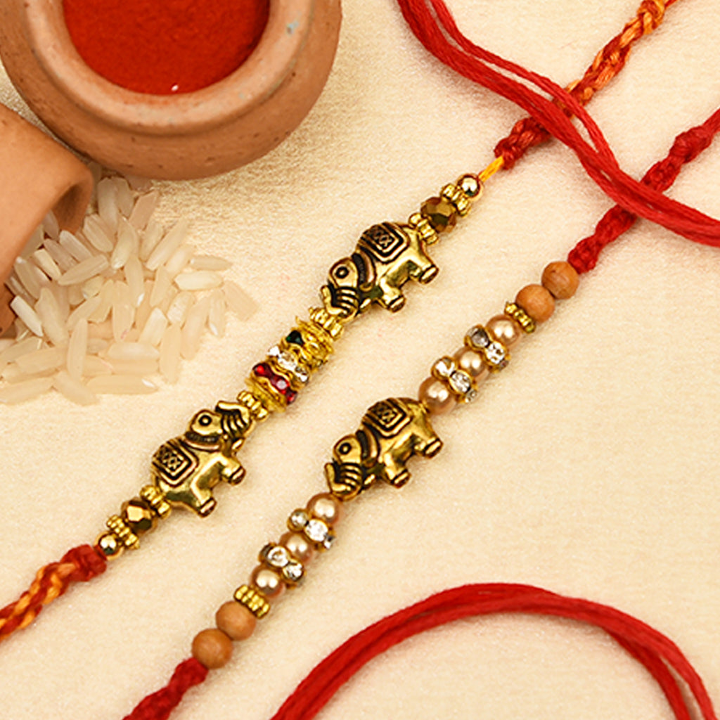 Traditional Set Of 2 Elephants Pattern Rakhis