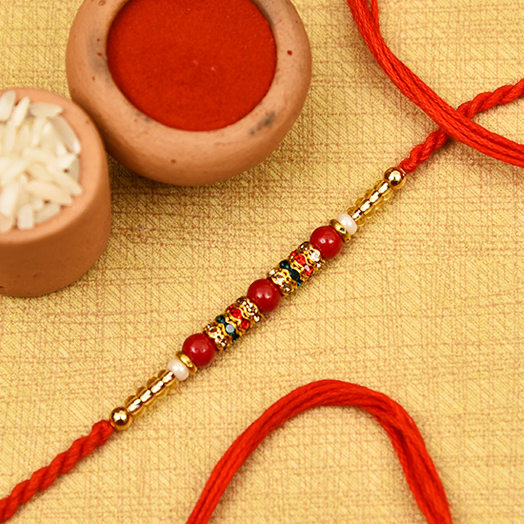 Beautiful Red Beads & Stone Work Rakhi Thread