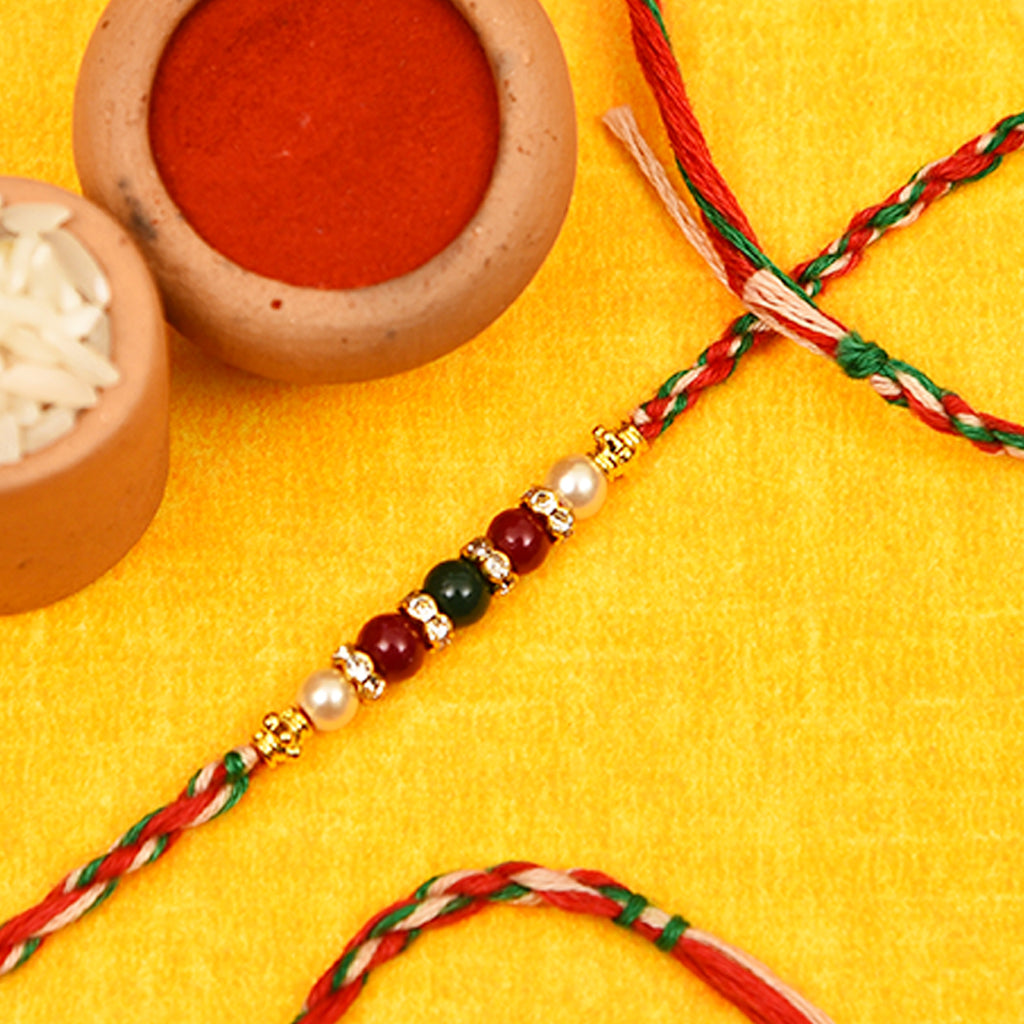 Gorgeous Beads & Pearls Rakhi Thread