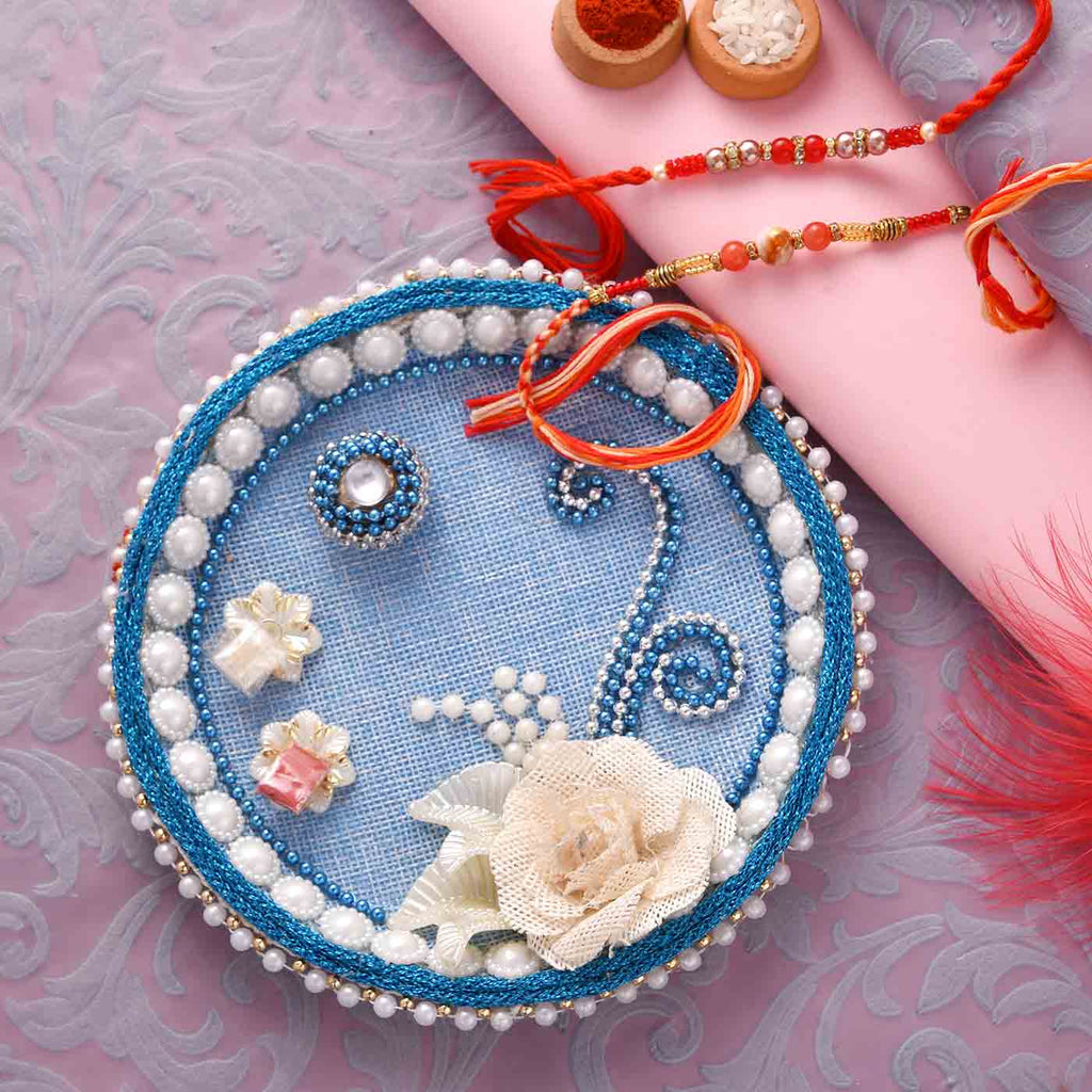Traditional Set Of 2 Beads Rakhis With Pooja Thali