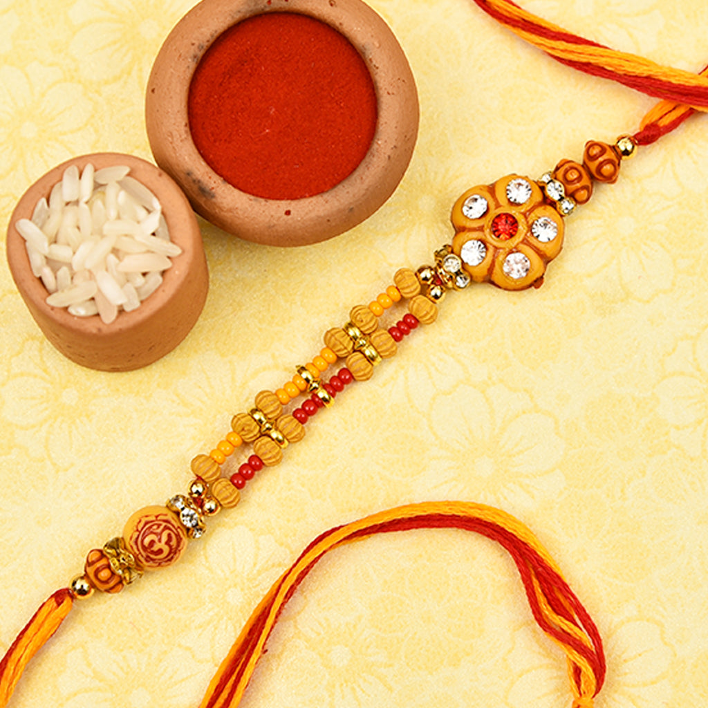 Om & Floral Pattern Rakhi Thread