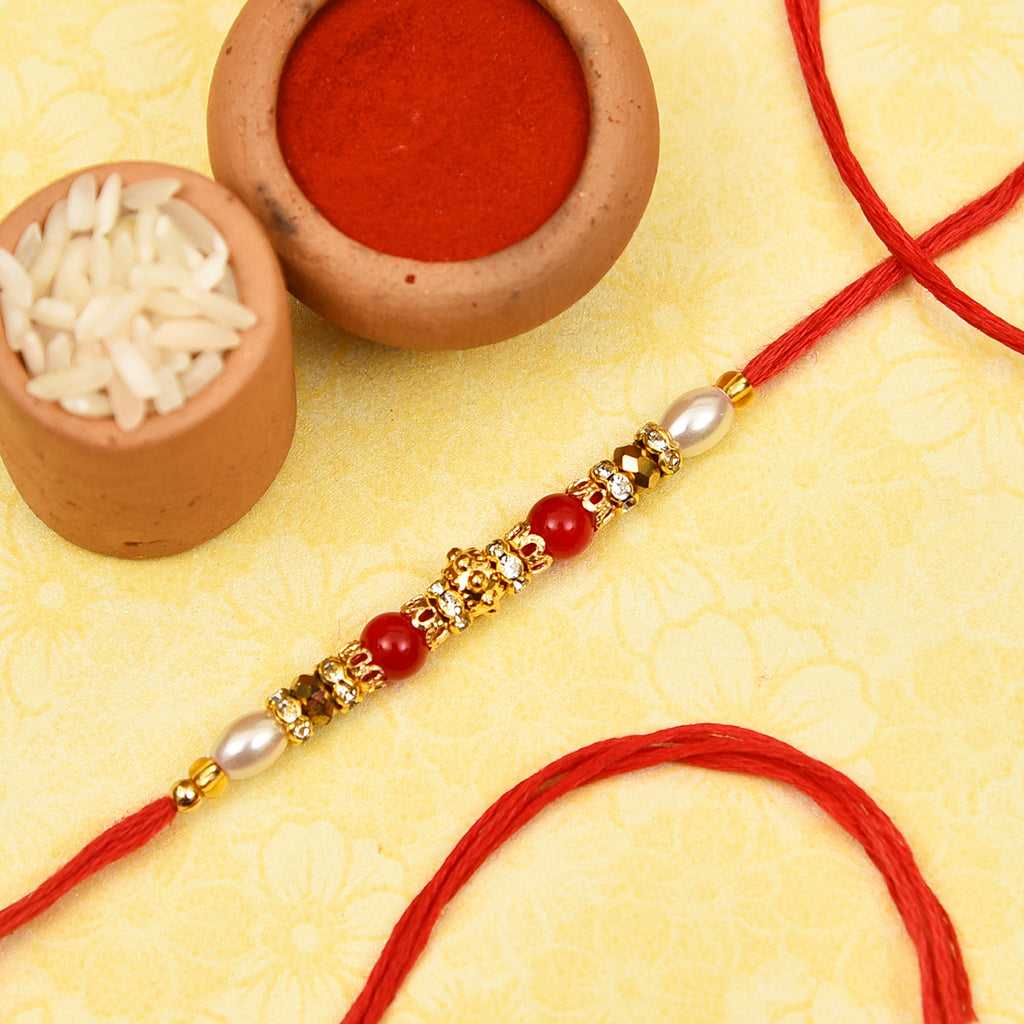Fancy Pearls, Crystals & Beads Rakhi Thread