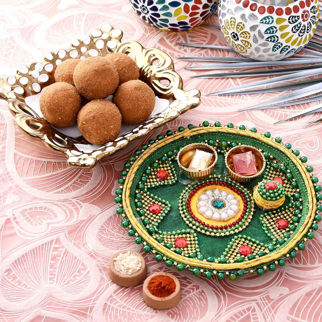 Beads & Stone Work Puja Thali With Besan Laddoo