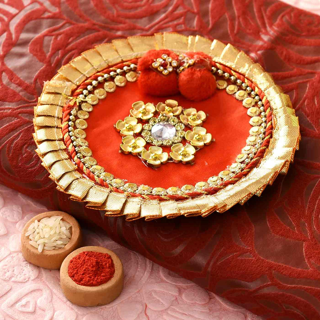 Beautiful Red Gotta Work Pooja Thali with Tikka (5 Inches)