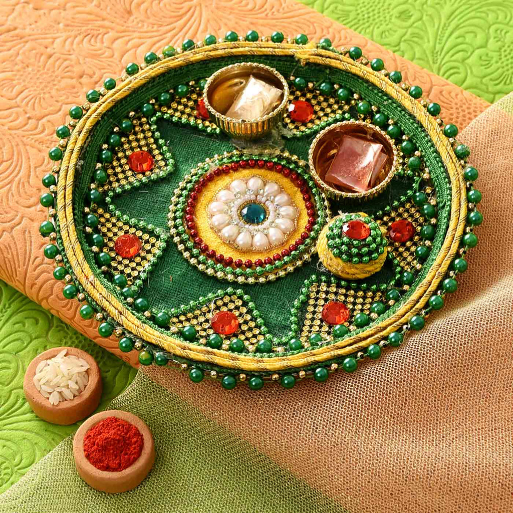Alluring Pearls, Beads & Stones Thali with Tikka (7 Inches)