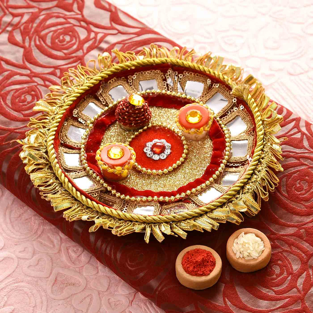 Stunning Gold-Red Pooja Thali With Gota Work with Tikka (7.5 Inches)
