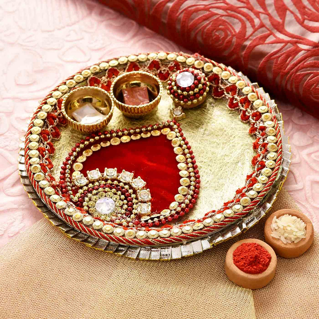 Traditional Beads & Stones Pooja Thali with Tikka (6.5 Inches)