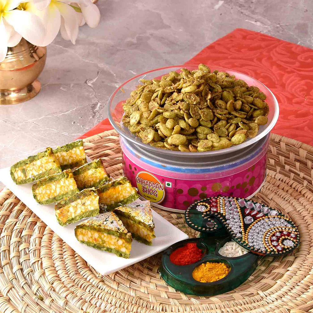 Delightful Bhaidooj Hamper Of Pista Diamond & Sem beej With Decorative Tikka