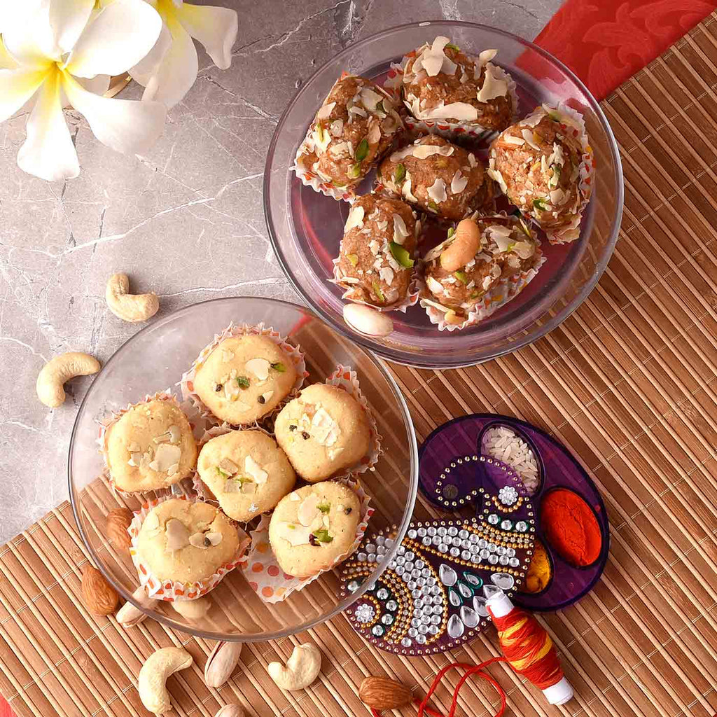 Delicious Gond Laddoo & Magdal With Decorated Bhaidooj Tikka Holder