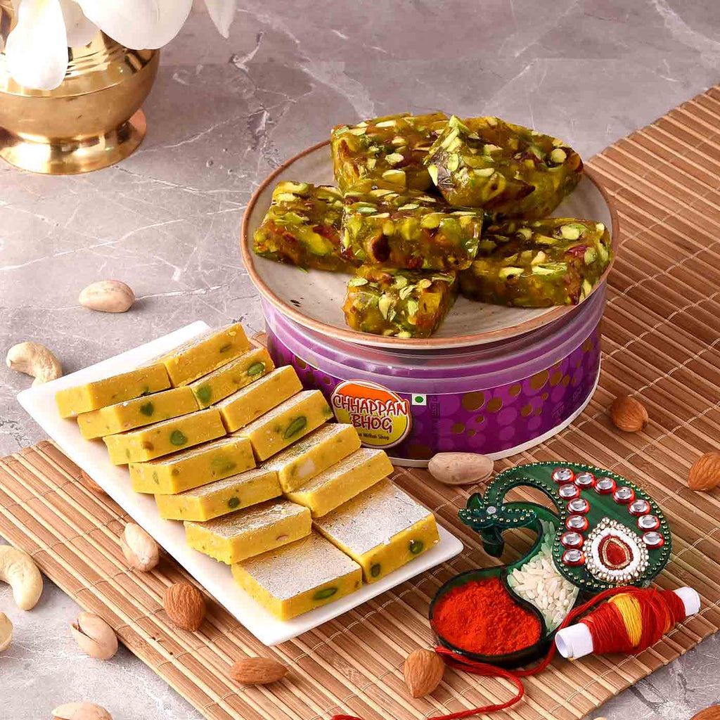 Embellished Tikka Holder With Kaju Kesar & Green Karachi Halwa