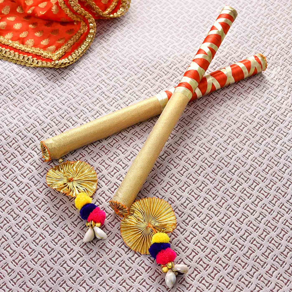 Fancy Red & Gold Dandiya Sticks