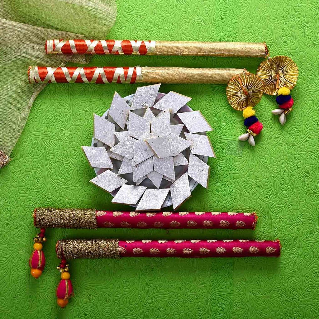 Gorgeous 2 Pairs of Dandiya Sticks With Kaju Barfee