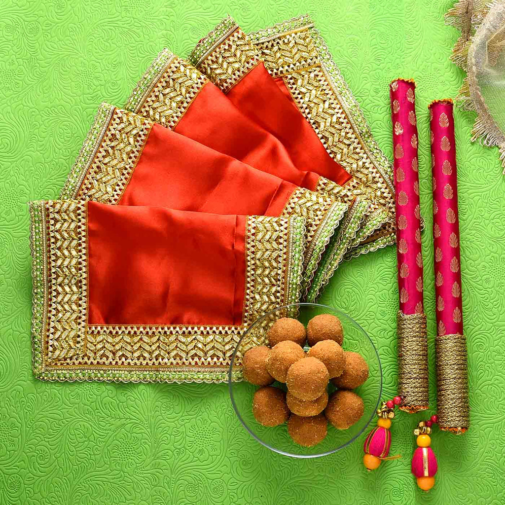 Beautiful Chunri With Dandiya Sticks & Besan Laddoo