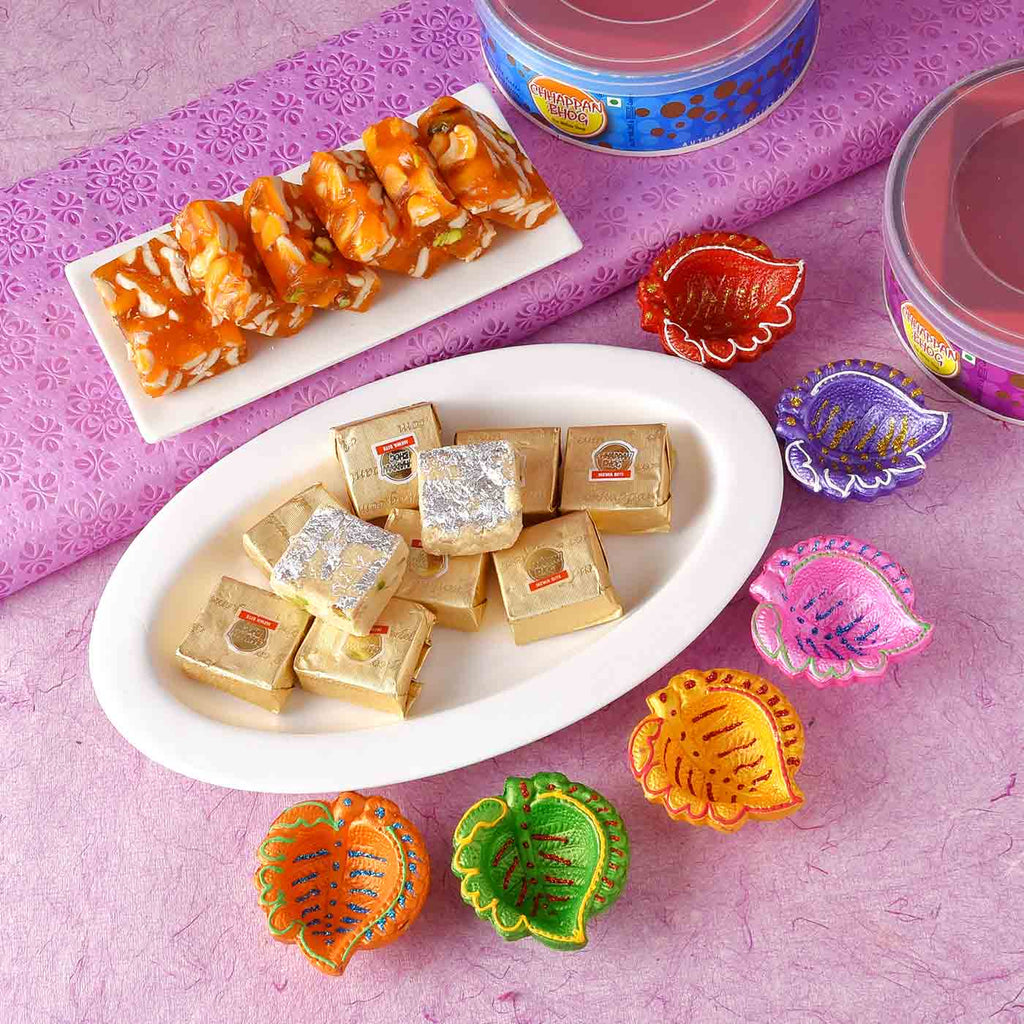 Leaf Shaped Set Of 6 Diyas With Mewa Bite & Karachi Halwa