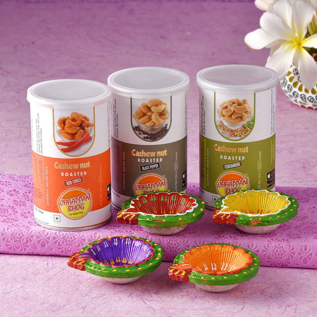 Set Of 4 Colourful Diyas With Cashewnuts CANs