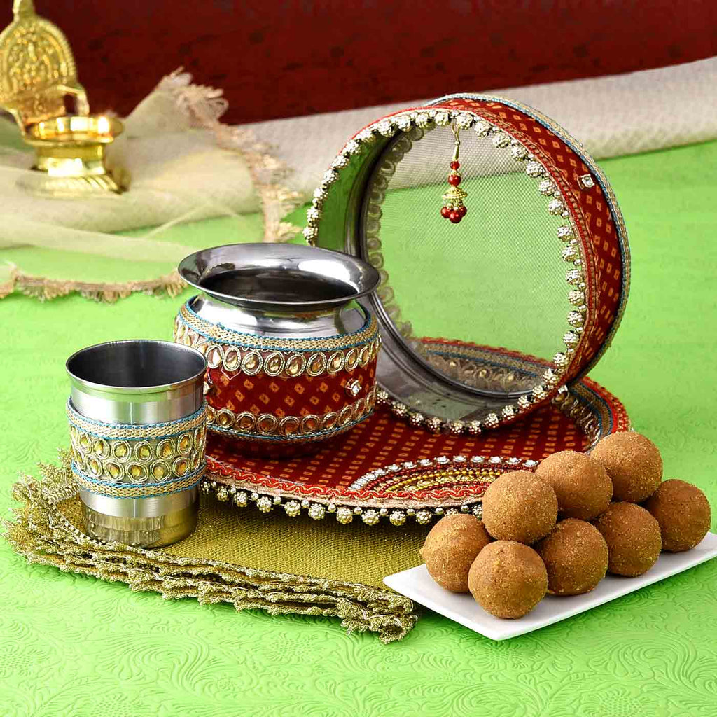 Traditional Karwachauth Puja Thali Set with Besan Laddoos