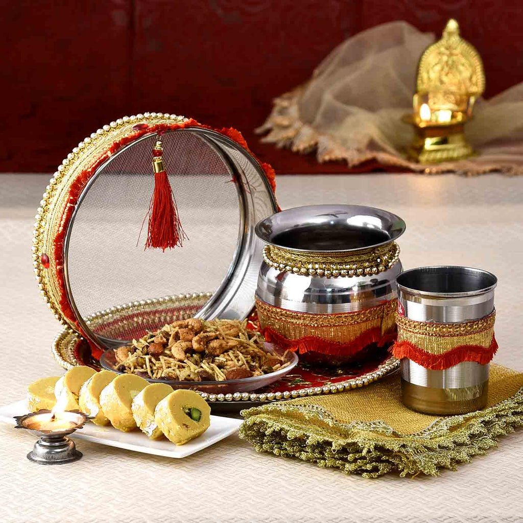 Special Karwachauth Hamper Of Puja Set With Batisa Slice & Mewa Dalmoth