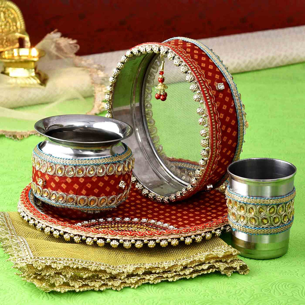 Traditional Karwachauth Puja Thali Set