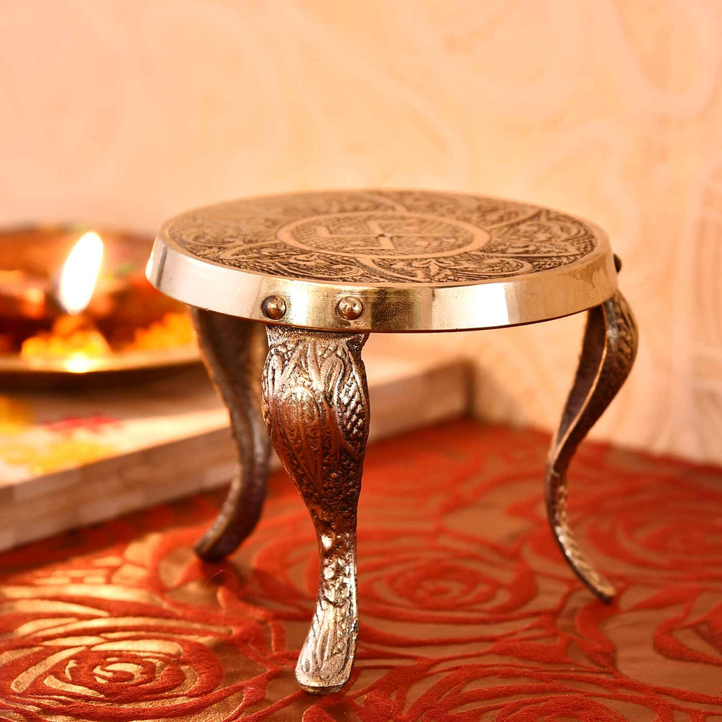 Handcrafted Traditional Brass Mukkali Stand (3.5 Inches)
